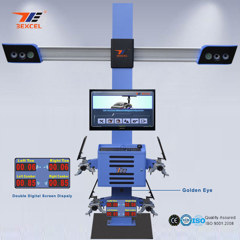 Two Monitor 3D Front End Alignment Equipment T58 Mobile For Cars With Four Cameras